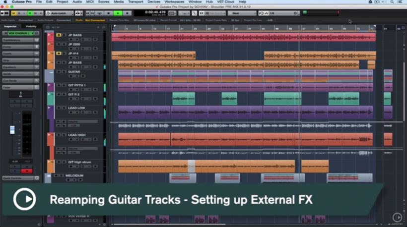 『中字教程』Cubase Pro 速攻小贴士:使用 VST AMP RACK 录制吉他,Reamp 吉他轨及外部硬件效果