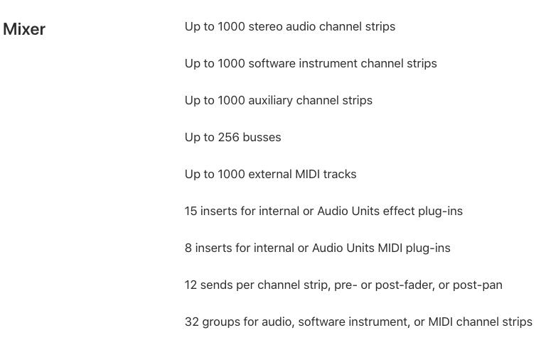 The Apple secretly updates the Logic Pro X input parameters
