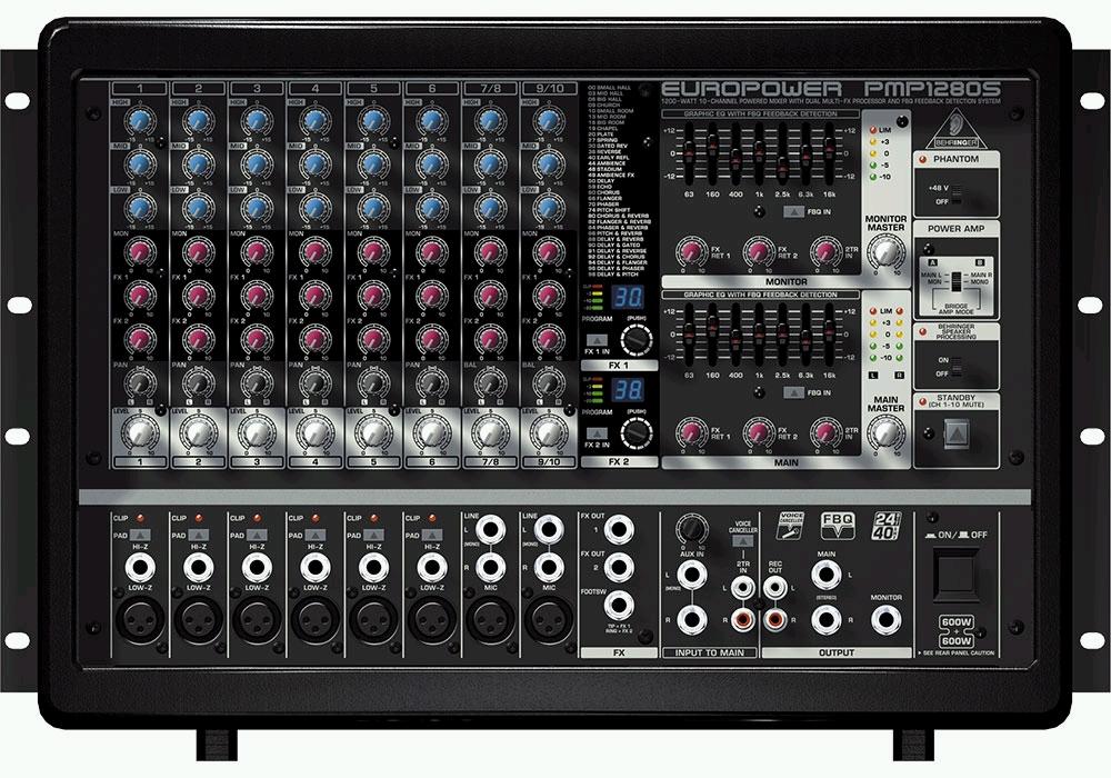 PMP1280S 有源调音台以更轻的重量提供更大的功率和更好的音色。 PMP1280S 调音台拥有新一代的功放技术,提供 1200 瓦强大功率,优美动听的音色,超轻的重量。配有24 比特立体声效果处理器,无形麦克风前置功放,人声消声器和其他让人惊讶不已的功能和特点。 重量轻,功率大,音色美不胜收!