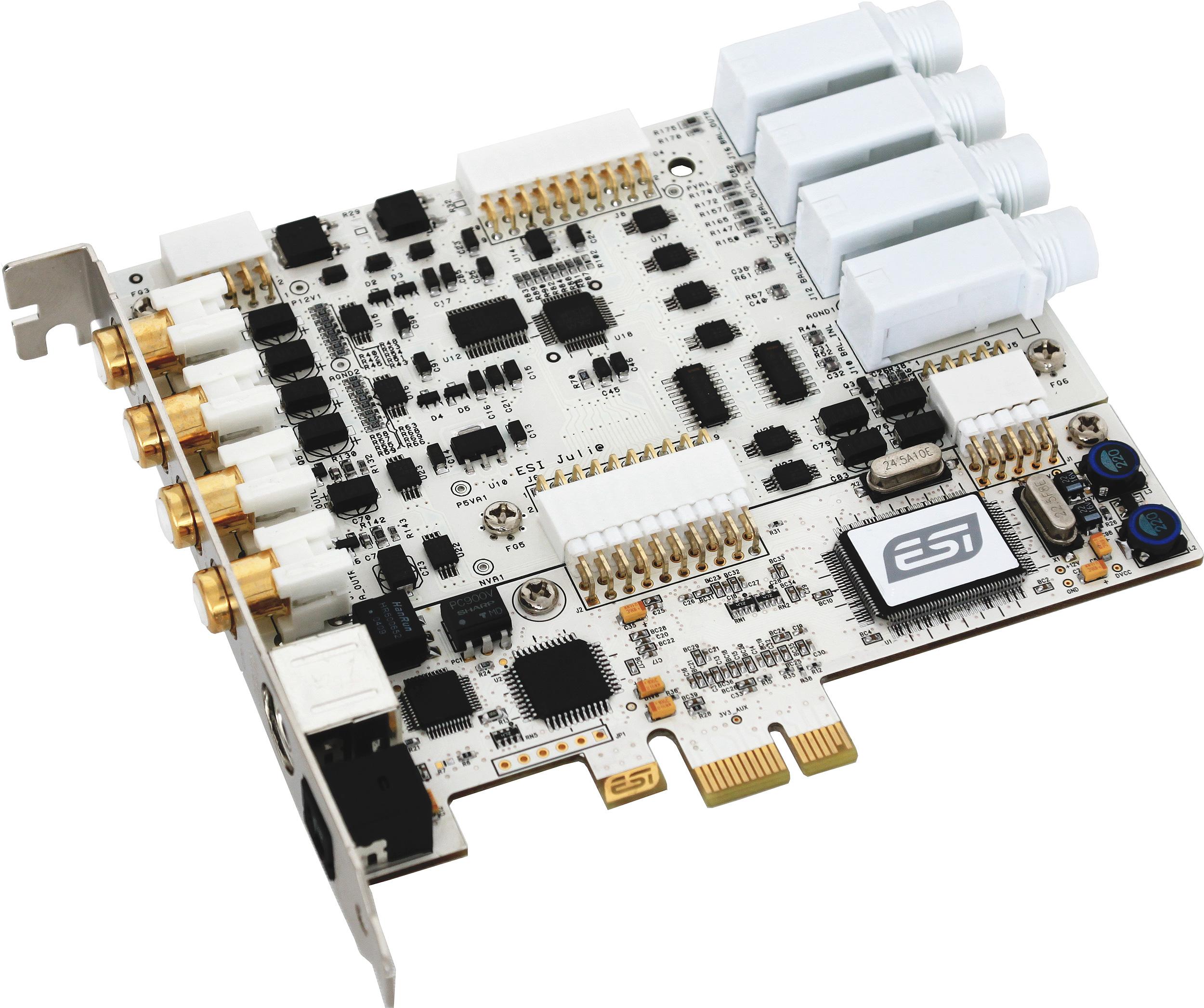 Juli@ XTe是PCIe版本的Juli@,提供24bit/192kHz的高精度音频,最特别的就是可以更换接口的设计,可自由选择使用RCA莲花接口还是TRS大三芯接口。同时内置了MIDI输入输出和数字输入输出接口。 Juli@ XTe主要特性: